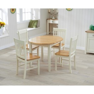 Nala Oak & Cream Solid Hardwood & Painted Dining Table