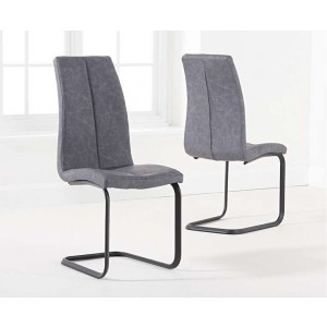 Harley Antique Grey Fabric Hoop Leg Dining Chair In A Pair