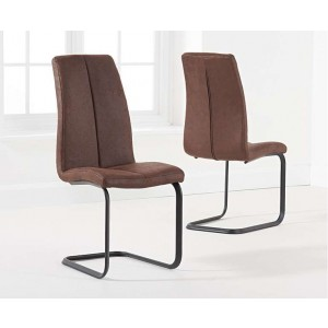 Harley Antique Brown Fabric Hoop Leg Dining Chair In A Pair