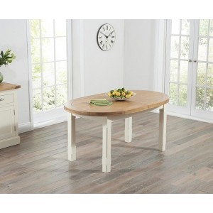 Maison Oval Extending Dining Table In Solid Oak And Cream