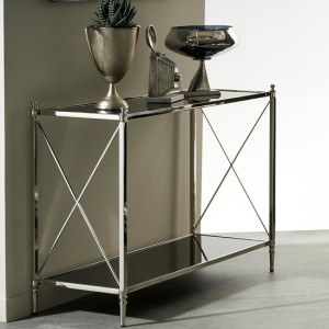 Pune Nickel Console Table With Black Mirror Top
