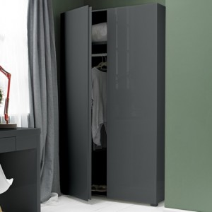 Puro Wooden 2 Doors Wardrobe In Charcoal High Gloss