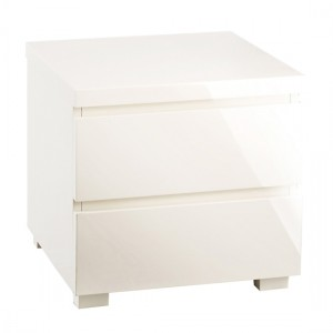 Puro Wooden Bedside Table In Cream High Gloss With 2 Drawers