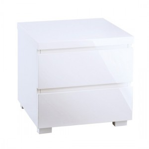 Puro Wooden Bedside Table In White High Gloss With 2 Drawers