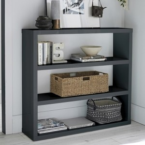 Puro Wooden Bookcase In Charcoal High Gloss Woth 2 Shelves
