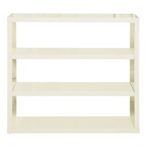 Puro Wooden Bookcase In Cream High Gloss Woth 2 Shelves