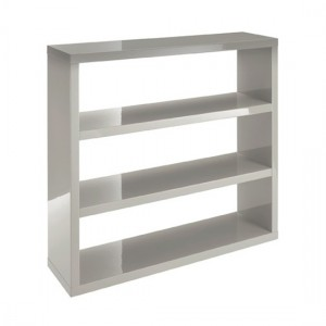 Puro Wooden Bookcase In Stone High Gloss Woth 2 Shelves