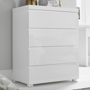 Puro Wooden Chest Of Drawers In White High Gloss With 4 Drawers
