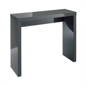 Puro Wooden Console Table In Charcoal High Gloss