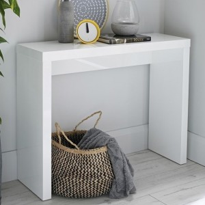 Puro Wooden Console Table In White High Gloss