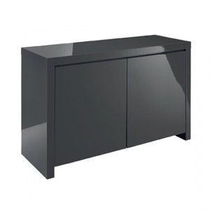Puro Wooden Sideboard In Charcoal High Gloss With 2 Doors
