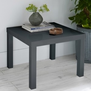 Puro Wooden Small Dining Table In Charcoal High Gloss