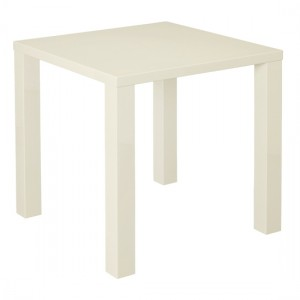 Puro Wooden Small Dining Table In Cream High Gloss