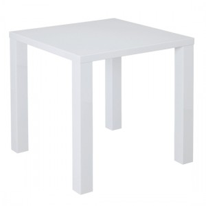 Puro Wooden Small Dining Table In White High Gloss