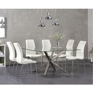 Casa Square Glass Dining Table In Clear With 4 Ramet White Dining Chairs