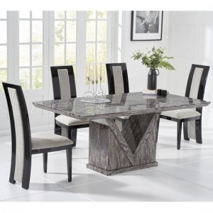Mocha Large Grey Marble Dining Table With Six Elbani Chairs