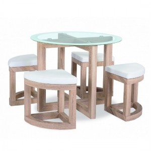 Quarry Round Glass Top Dining Table In Beech With 4 Stools