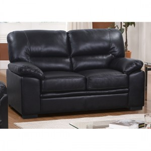 Rachel LeatherGel And PU 2 Seater Sofa In Black