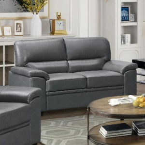 Rachel LeatherGel And PU 2 Seater Sofa In Grey