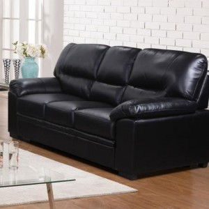 Rachel LeatherGel And PU 3 Seater Sofa In Black