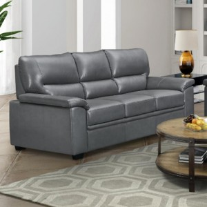 Rachel LeatherGel And PU 3 Seater Sofa In Grey