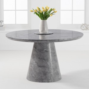 Ramiro Round Marble Dining Table In Grey