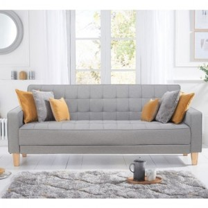 Ramsey Linen Fabric Upholstered Sofa Bed In Grey