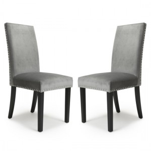 Randall Grey Velvet Dining Chairs in Pair With Black Legs