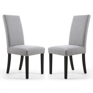 Randall Silver Grey Fabric Dining Chairs In Pair With Black Legs