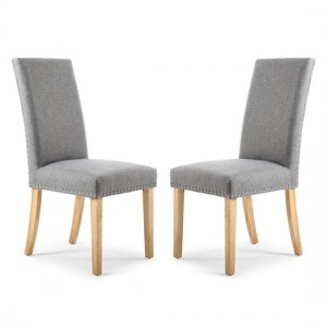 Randall Silver Grey Fabric Dining Chairs In Pair With Natural Legs