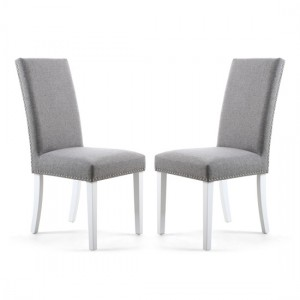 Randall Silver Grey Fabric Dining Chairs In Pair With White Legs