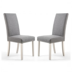 Randall Steel Grey Fabric Dining Chairs In Pair With Grey Legs