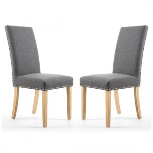 Randall Steel Grey Fabric Dining Chairs In Pair With Natural Legs