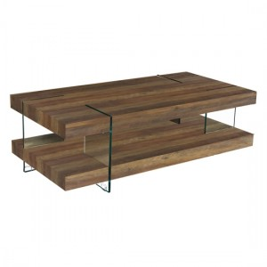 Redhill Wooden Coffee Table In Oak Effect And Glass Legs