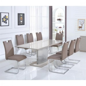 Rembrock Extending Dining Table In High Gloss Champagne With 6 Chairs