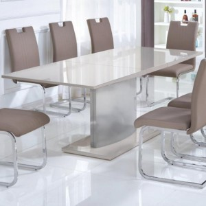 Rembrock Extending Dining Table In High Gloss Champagne
