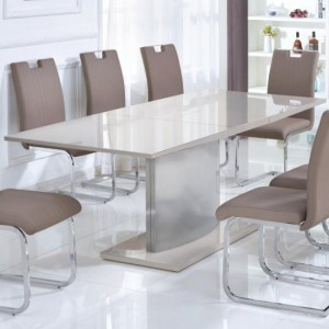 Rembrock Extending Tempered Glass Top Dining Table In Champagne High Gloss