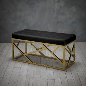 Renata Fabric Dining Bench In Black