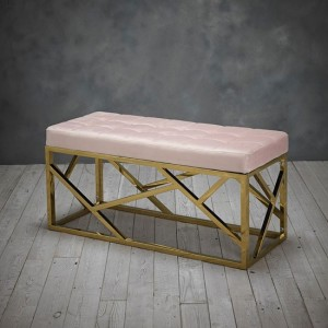 Renata Fabric Dining Bench In Pink