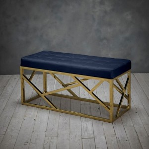 Renata Fabric Dining Bench In Royal Blue