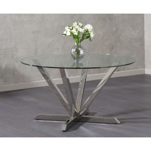 Danetti Round Glass Dining Table With Stainless Steel Legs