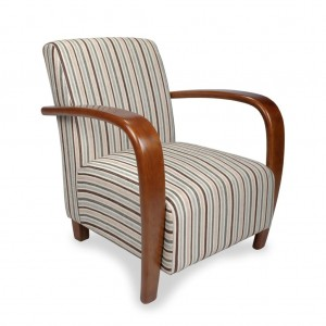 Restmore Fabric Armchair In Chenille Stripe Duck Egg