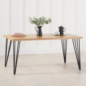 Reviro Rectangular Wooden Dining Table In Oak With Black Legs