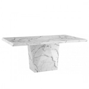 Rhine Marble Rectangular Dining Table In White
