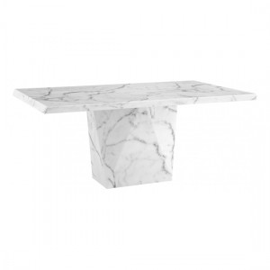 Rhine Natural Stone Marble Dining Table In Lacquer