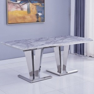 Riccardo Large Grey Marble Dining Table With Chrome Metal Legs