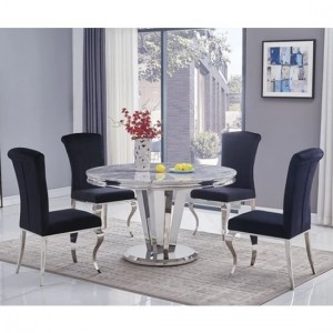 Riccardo Round Grey Marble Dining Table With 6 Liyana Black Chairs