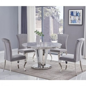 Riccardo Round Grey Marble Dining Table With 6 Liyana Grey Chairs
