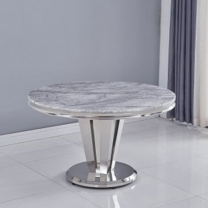 Riccardo Round Grey Marble Dining Table With Chrome Metal Legs