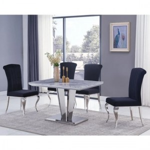 Riccardo Small Grey Marble Dining Table With 4 Liyana Black Chairs